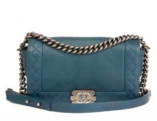 Chanel Blue Leather Reverso Le Boy Bag