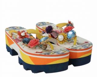 Dolce & Gabbana Embellished Platform Flip-Flops