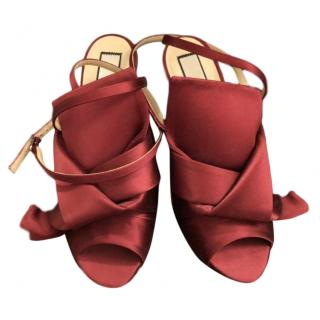 No.21 Red Satin Knot Detail Ankle Strap Mules