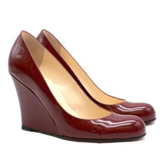 Christian Louboutin Burgundy Patent Leather Round Toe Wedges