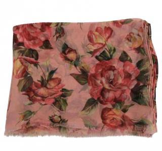 Dolce & Gabbana pink rose wrap scarf