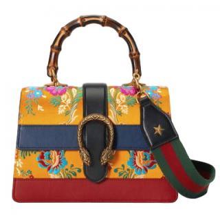 Gucci Yellow Mini Dionysus Floral Jacquard Top Handle Bag