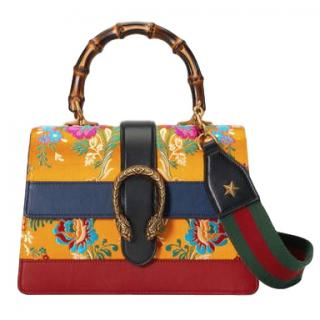 Gucci Yellow Mini Dionysus Floral Jacquard Top Handle Bag