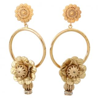 Dolce & Gabbana Gold Floral Hoop Earrings
