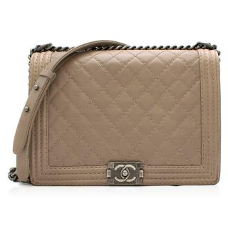 Chanel Taupe Calfskin Large Stitch Boy Bag