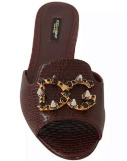 Dolce & Gabbana Iguana Crystal Studded Slides