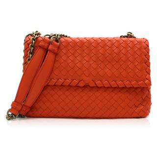 Bottega Veneta Red Small Intrecciato Olimpia Bag