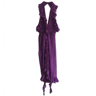 Dior by John Galliano Purple Lace Knit Halterneck Dress