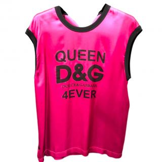Dolce & Gabbana Pink Queen Tank Top