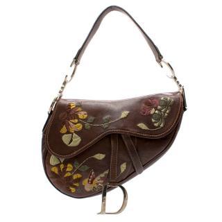 Christian Dior Vintage Floral Embroidered Leather Saddle Bag