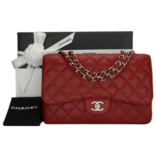 Chanel Red Caviar Leather Jumbo Flap Bag