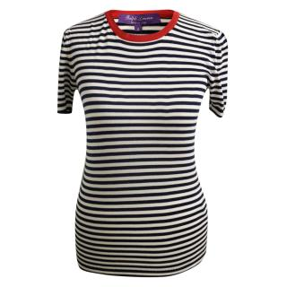 Ralph Lauren Purple Label Striped Silk T-Shirt