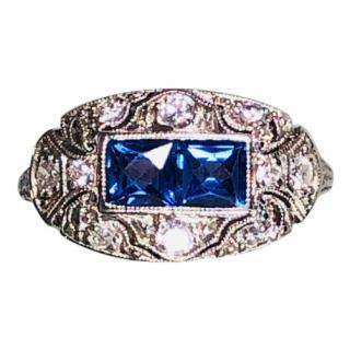 Vintage Bespoke Art Deco Sapphire & Diamond Platinum Set Ring