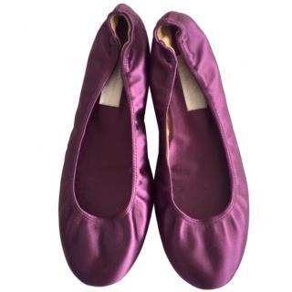 Lanvin Amethyst Silk Satin Ballerina Flats