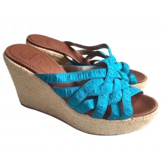 Christian Louboutin Blue Satin Espadrille Wedges