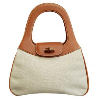 Gucci Vintage Leather & Canvas Bamboo Top Handle Bag