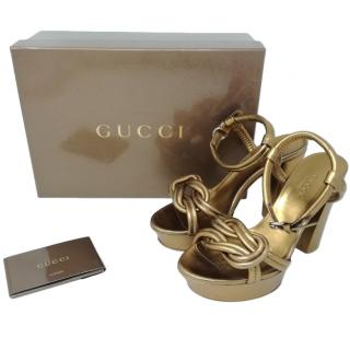 Gucci Gold Leather Platform Sandals
