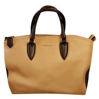 Max Mara camel and black leather bowling bag