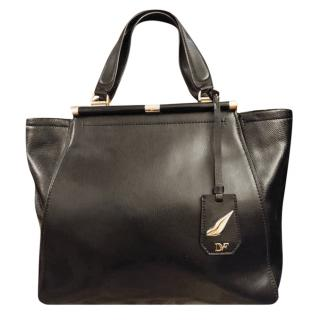 Diane Von Furstenberg Black Leather Trapeze Bag