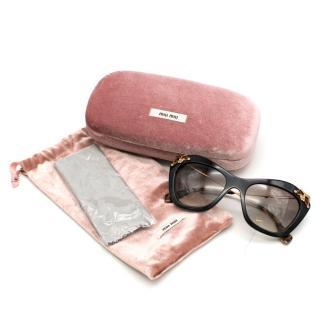 Miu Miu Glow Havana Crystal Sunglasses