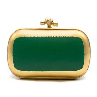 Bottega Veneta Gold & Green Gilded Waxed Knot Clutch