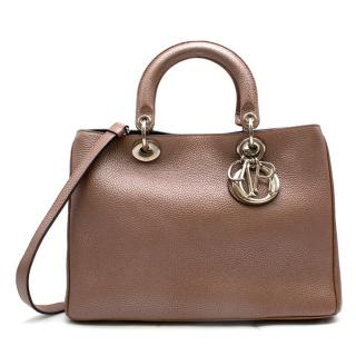 Christian Dior Diorissimo Bronze Medium Pebbled Leather Bag