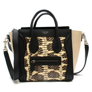 Celine Nano Luggage Tote in Black & Beige Leather & Natural Python