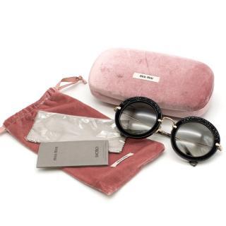Miu Miu Round Black Crystal Sunglasses
