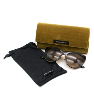 Dolce & Gabbana Cat-Eye Sunglasses With Golden Filigree Arms