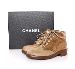 Chanel Goat skin camel lace-up boots