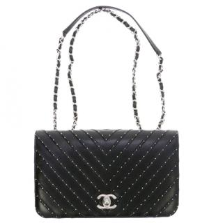 Chanel Limited Edition Black Lambskin Studded Flap Bag