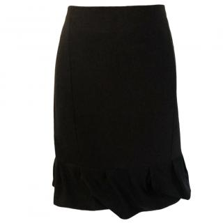Joseph Black Ruffled Hem Skirt