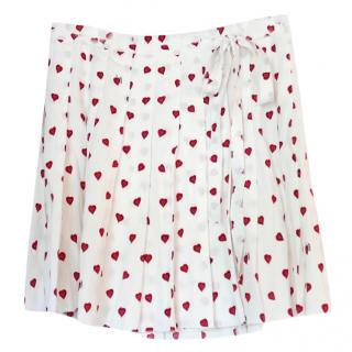 Prada future vintage heart print printed crepe skirt