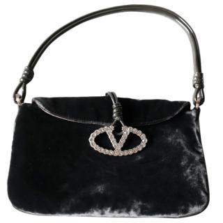 Valentino Grey Velvet Vintage Mini Shoulder Bag