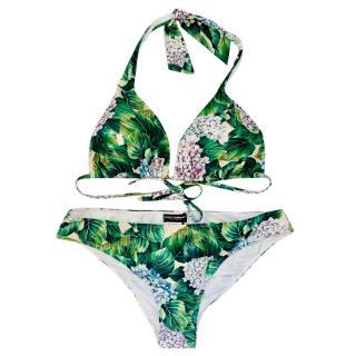 Dolce & Gabbana Hydrangea Print Halterneck Bikini