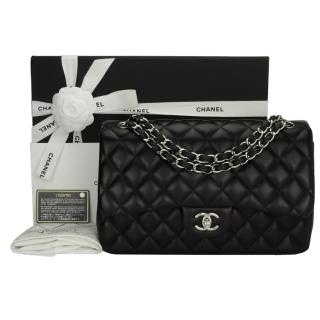 Chanel Black Leather Jumbo Double Flap Bag