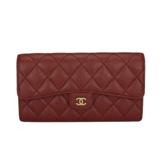 Chanel Iridescent Caviar Leather Burgundy Long Flap Wallet