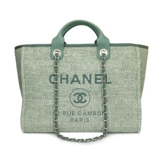 Chanel Mint Green Canvas Large Deauville Tote