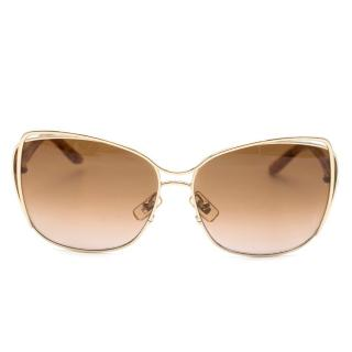 Miu Miu Brown & Gold Square Oversize Rim Sunglasses