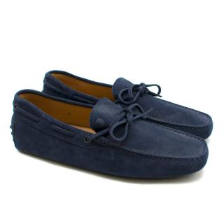 Tod's Men's Navy Blue Suede Loafers