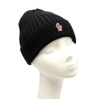 Moncler Black Ribbed-Knit Wool Beanie Hat