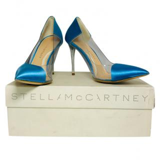 Stella McCartney Blue Satin & PVC Pumps