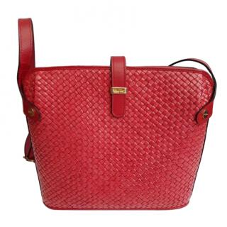 Salvatore Ferragamo Red Rattan & Leather Tote
