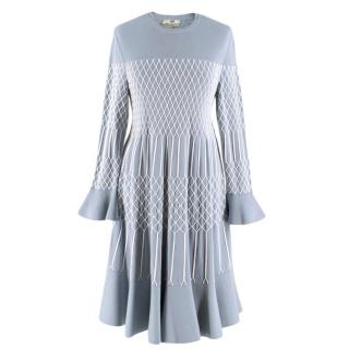 Fendi Blue Embroidered Stitch Detail Knit Midi Dress