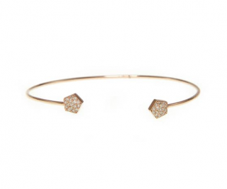 Ri Noor Pentagon Diamond 14ct Gold Bangle