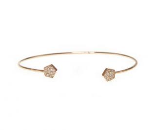 Ri Noor Pentagon Diamond 14ct Gold Bangle