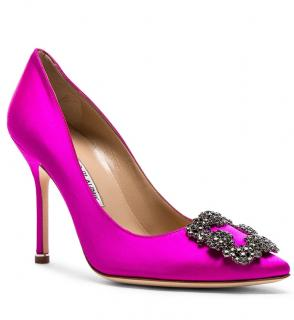 Manolo Blahnik Hot Pink Hangisi 105 Pumps
