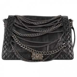 Chanel Black Lambskin Jumbo Boy Enchained