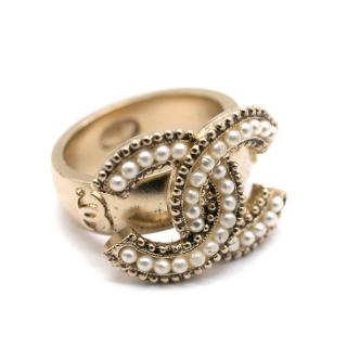 Chanel Gold Tone CC Pearl Embellished Ring