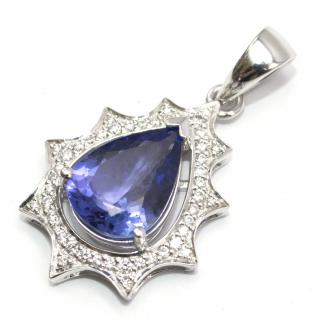 Bespoke 14ct Tanzanite & Diamond Tear Drop Pendant